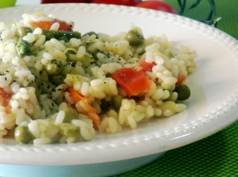 Riso con Asparagi,Piselli e Pomodorini