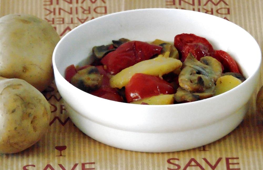 Peperoni con Funghi e Patate